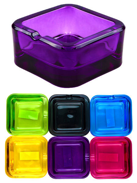 Champ Small Square Glass Ashtray Assorted Colours