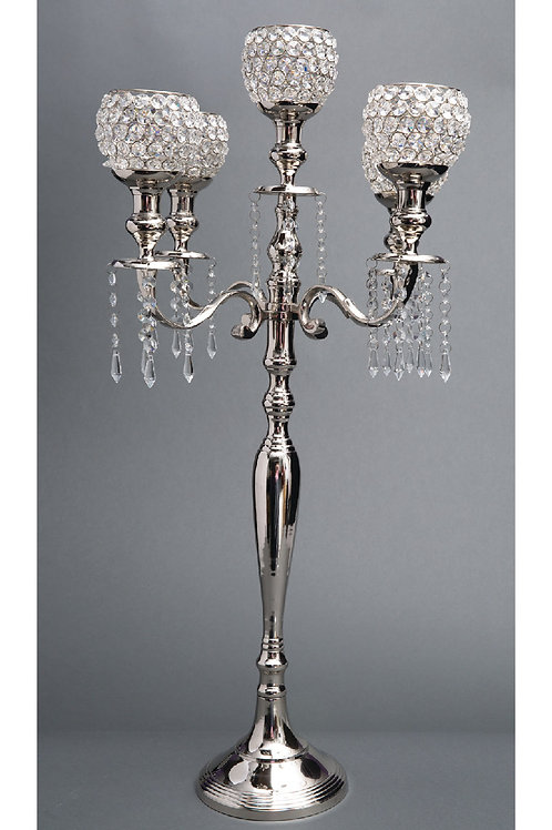 Silver Crystal Bead Candelabra - AL1730-S