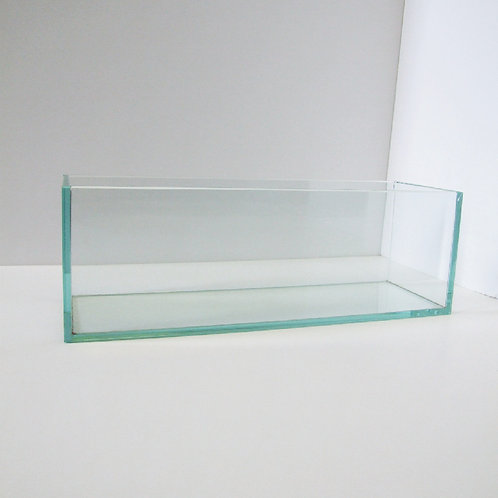 Flat Clear Glass Vase - V-4412