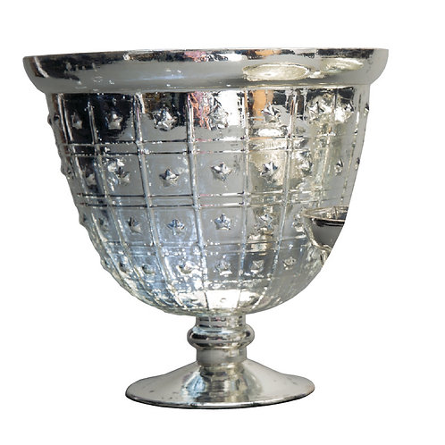 Silver Large Dotted Mercury Bowl - AHG1009S