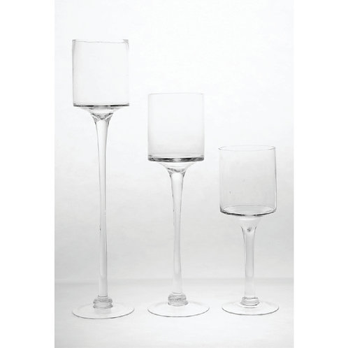 SET Clear Glass Candle Holder - CH121620