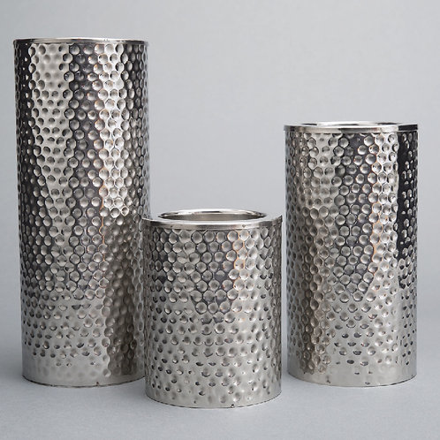 Nickel Pillar Candle Holder - MM594