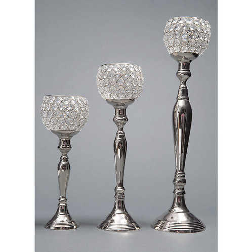 Round Crystal Beaded Candle Holder - RD121620S