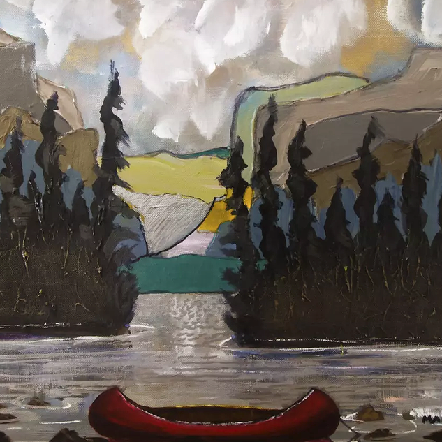 red canoe and mountains 2015 22x26