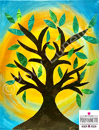 FOLK ART TREE Mixed Media