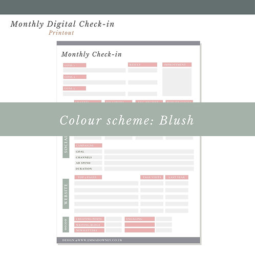 Monthly Digital Check In - Print Out (Blush)