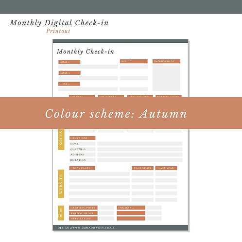 Monthly Digital Check In - Print Out (Autumn)