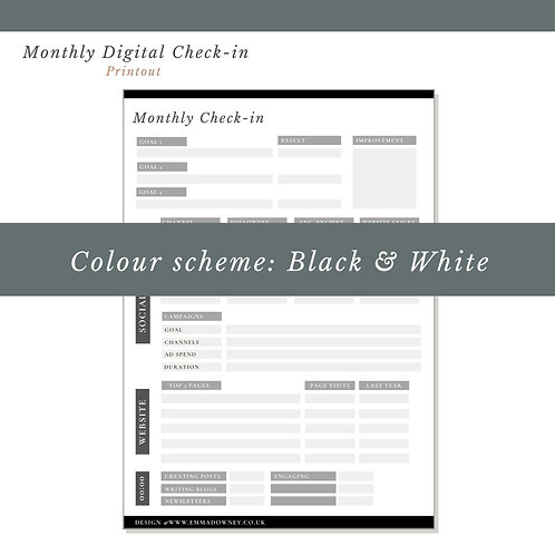 Monthly Digital Check In - Print Out