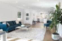 Beautiful large living room interior wit