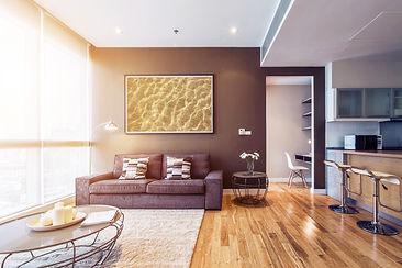 living room with big window interior. Bi