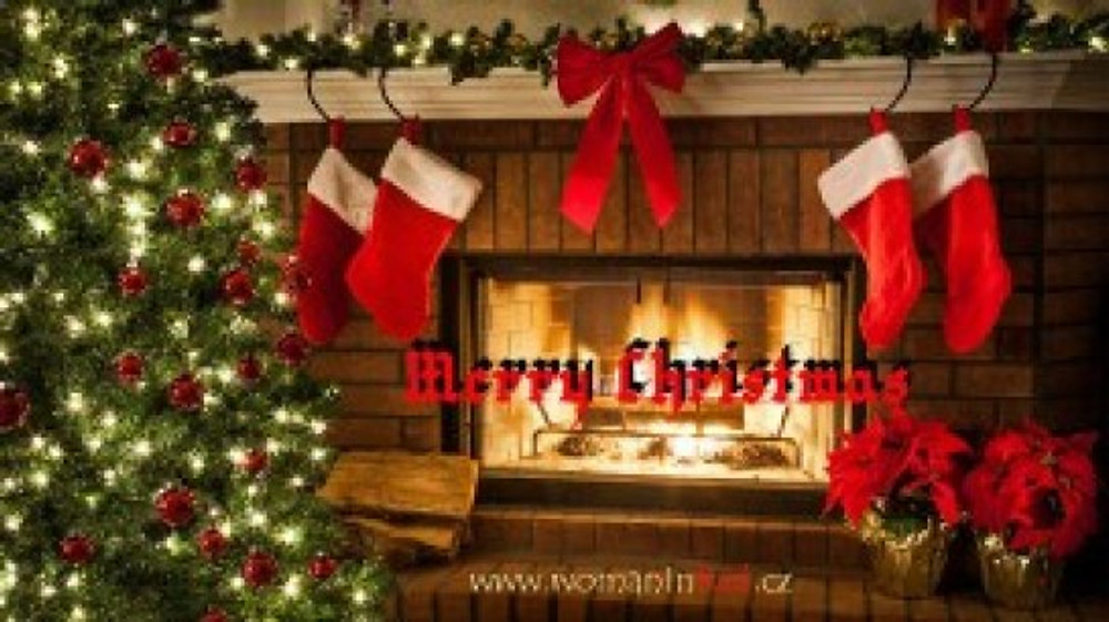 christmas card womaninred