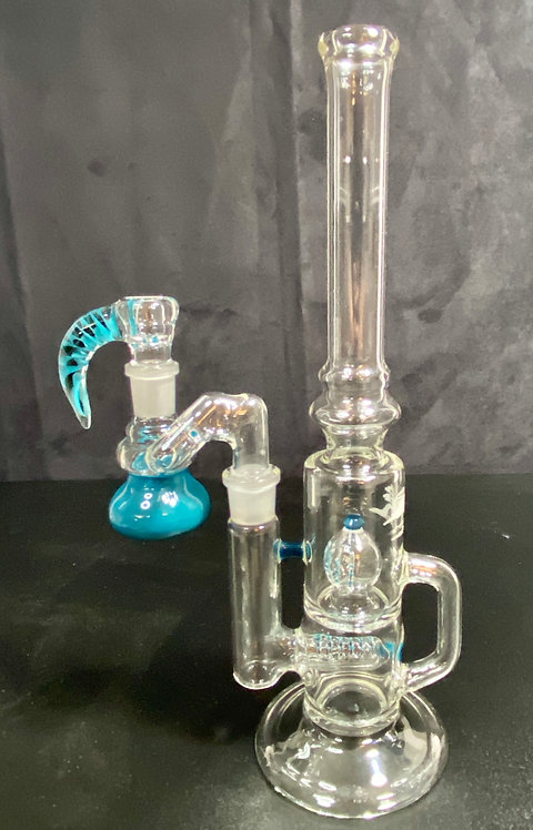 5 3lements Glass Agua Azule Grid to Imperial Recycler w/ Ash Catcher