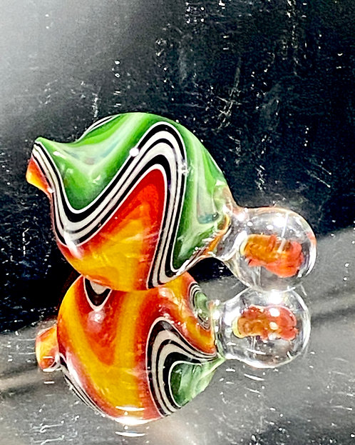 Global Glassworks Linetube Wig Wag Carb Cap w/ Millie Black & White Stripe