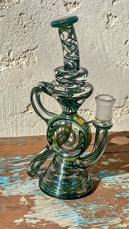 A 1 Glass Fully Worked Swiss Puck Recycler 14mm