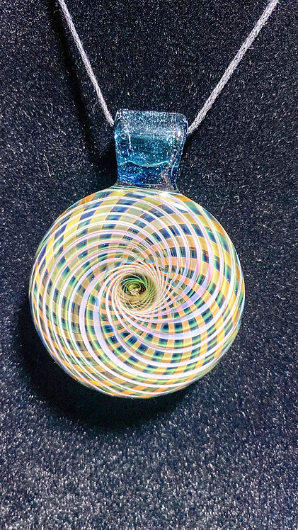 Jhanny Rise Fumed Matrix Disc Pendie w/ Blue Worked Back