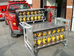 storage rack for mobile SCBA cylinder holder carrier