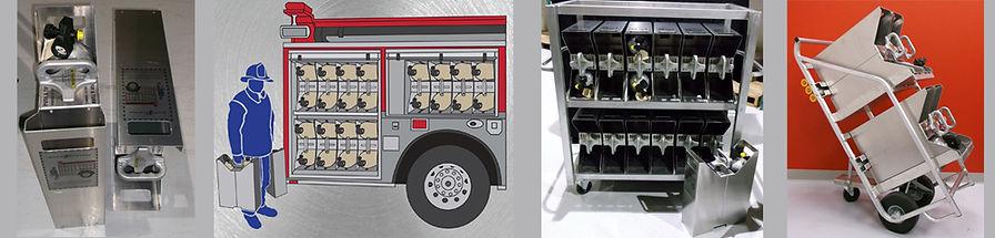 SCBA cylinder holder carrier, storage rack, hand cart