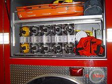 SCBA cylinder holder carrier on a firetruck