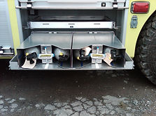 Storage rack for SCBA cylinder holder carrier used on a firetruck