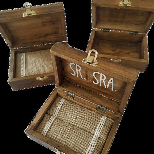 Pack caja para anillos, arras y lazo pequeño