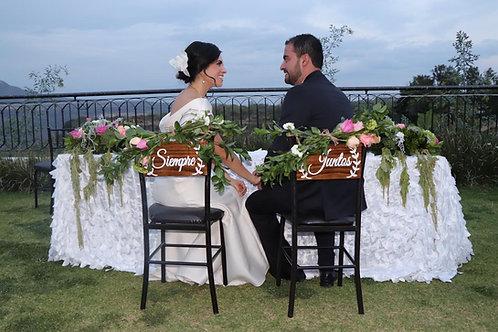 Letreros para sillas de Novios