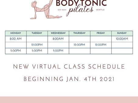 New Virtual Group Class Schedule - Beginning Jan 4th, 2021