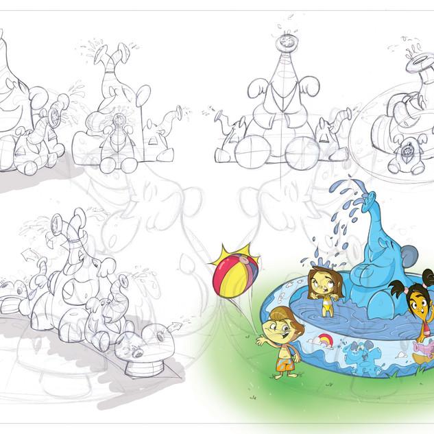 Elephant Fountain Slip 'N Slide Jr.