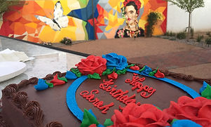 Painted Lady Bed & Brew birthday cake.