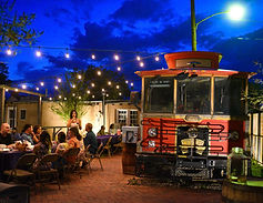 Painted Lady Bed & Brew trolley beer garden rehearsal dinner.