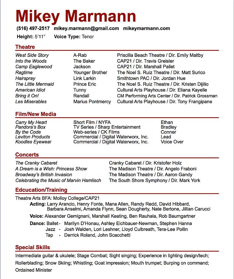 Actor | New York | Mikey Marmann - Headshot & Resume