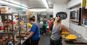 Trading Dress Clothes for Aprons & Pens for Spatulas - YWS June Shelter Visit