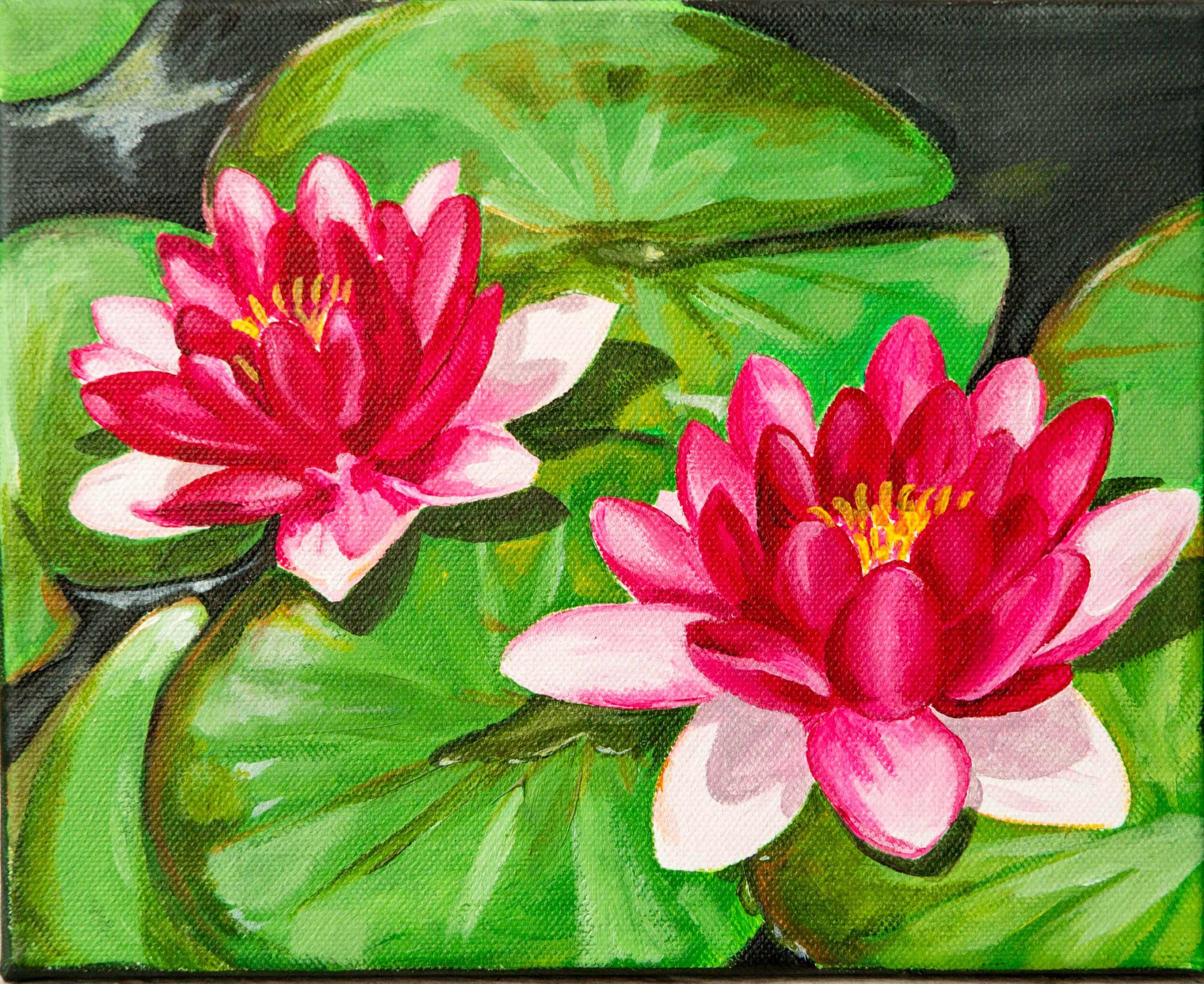 Flores de Loto- Acrílico sobre tela