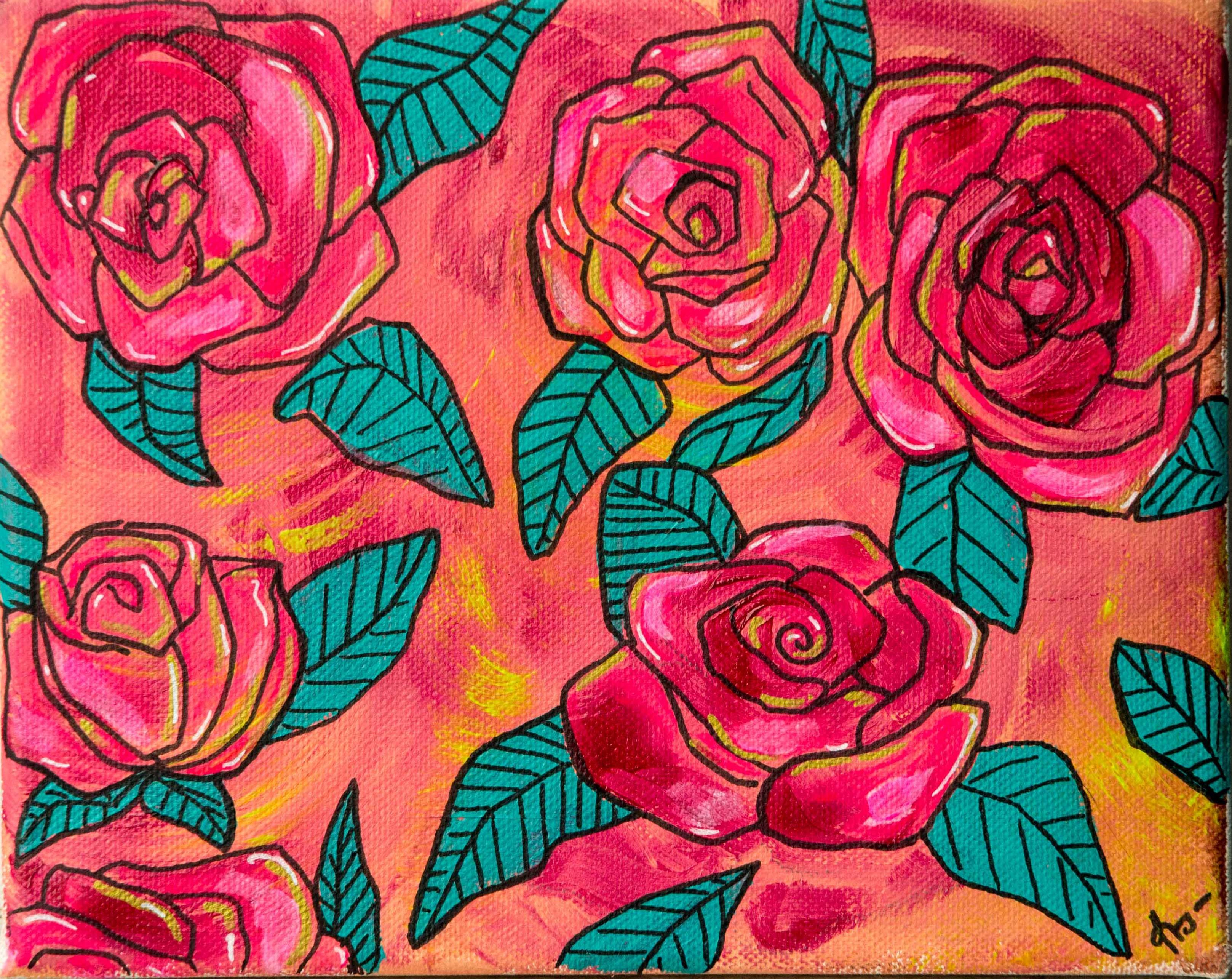 Rosas Pop-Acrílico sobre tela