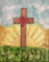 Mixed Media inspiration art of a cross, He is Risen