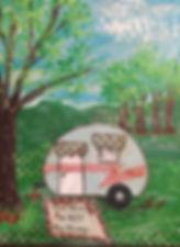 Mixed media art of a camper, inspirational