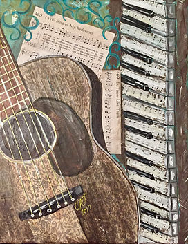 Mixed media art of guitar and piano, inspirational