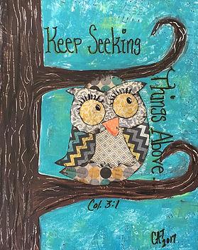 Mixed media scripture art, owl