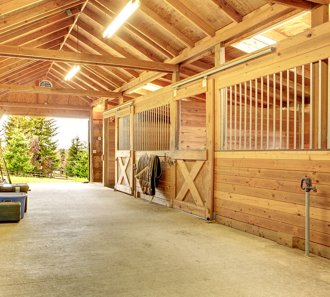 Stable barn with beam ceiling. View of t