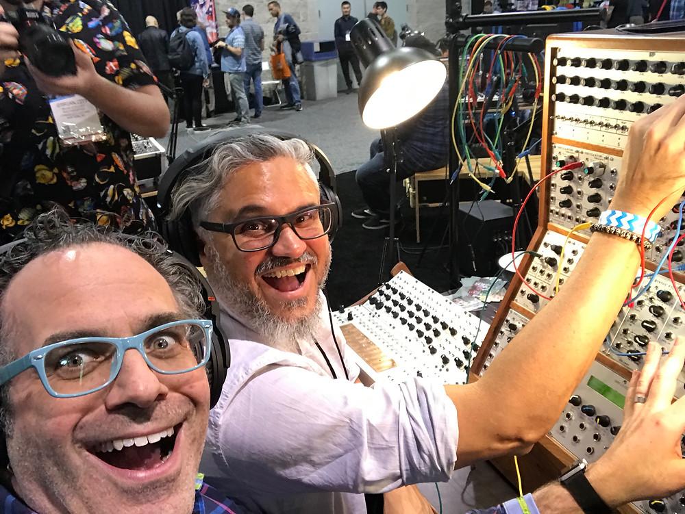 Dmitri Vietze and friend at Alex 4's synth playground, NAMM 2019