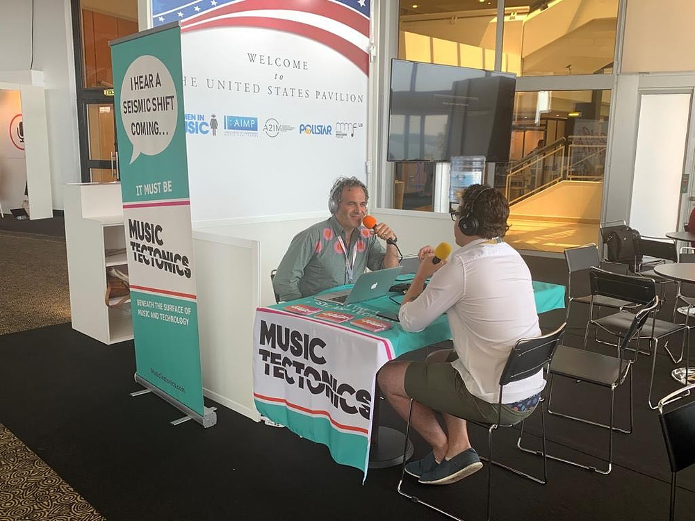 Dmitri's roving podcast studio in the US Pavilion at Midem 2019