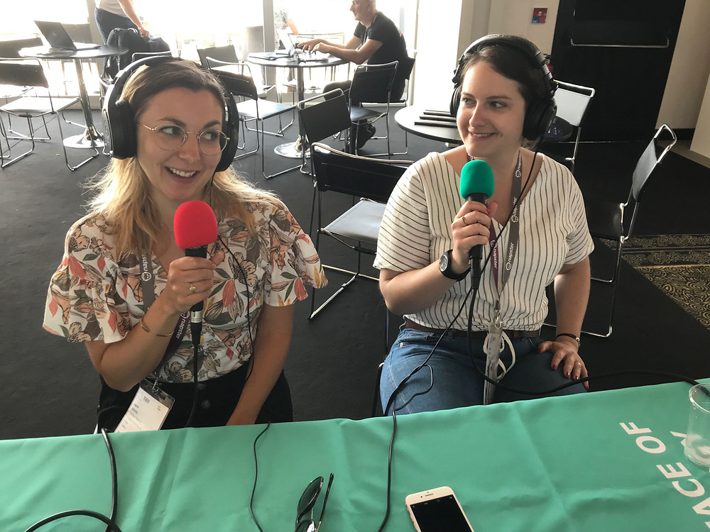 Sophie Ziessel and Myriam Caron of Muzeek at the Music Tectonics roving podcast studio.