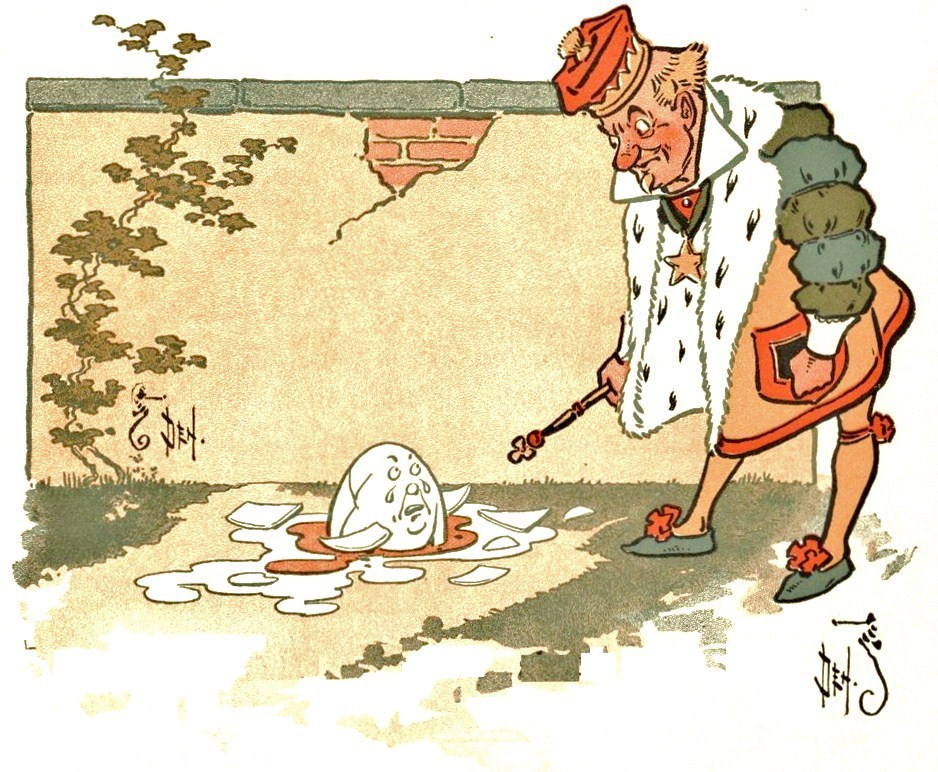 "Humpty Dumpty after his fall: from ""Denslow's Humpty Dumpty"" by W.W. Denslow (Public Domain)"