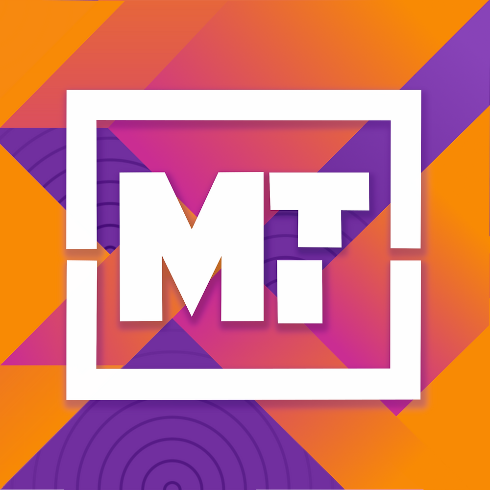 The Music Tectonics logo: White capital letters M and T, fractured by a seismic shift, over a colorful geometric background of purple, magenta, and orange.