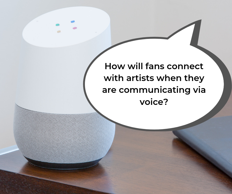 "Ask Google Home, ""How will fans connect with artists when they are communicating via voice?"