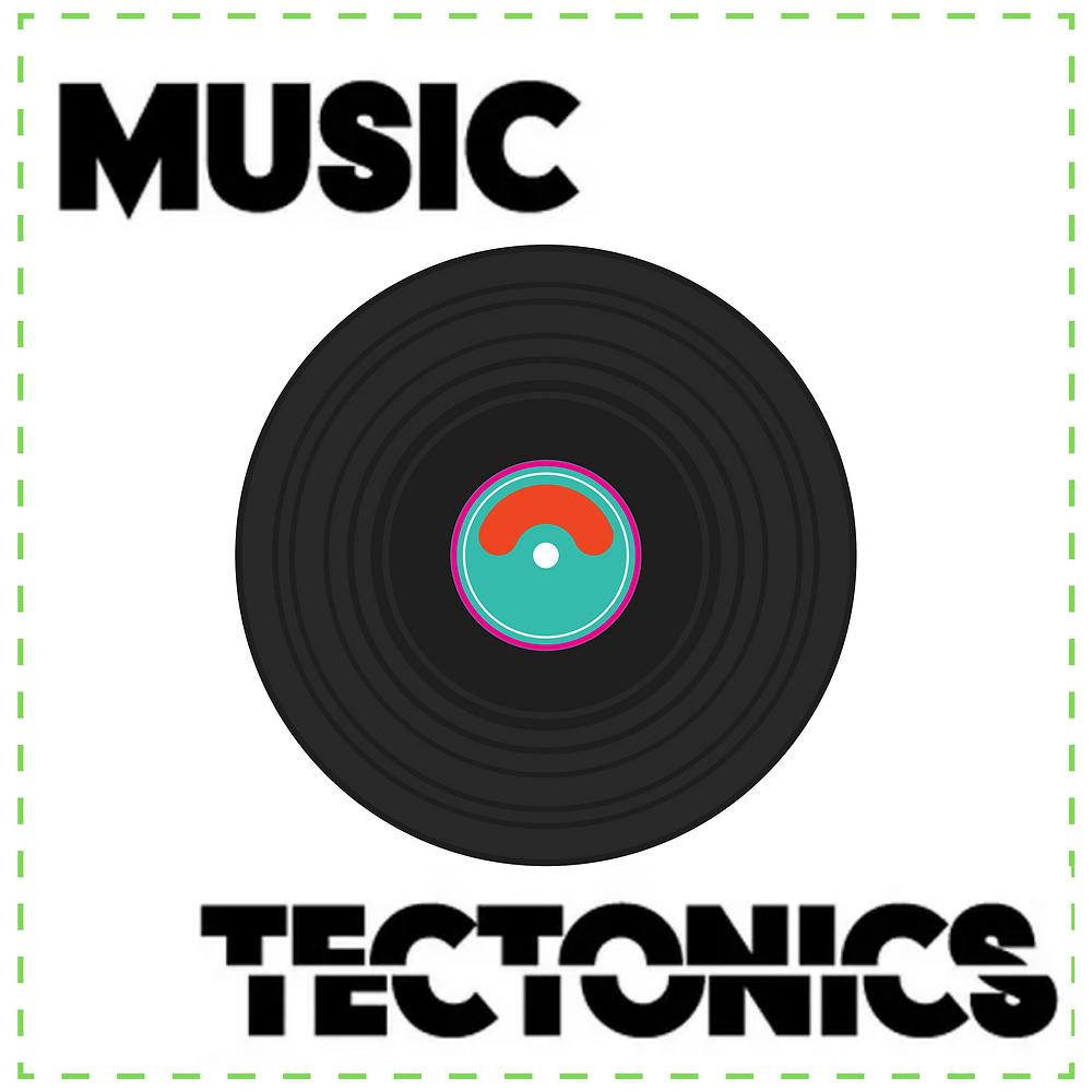 The Music Tectonics Podcast: image features a cartoon DJ controller.