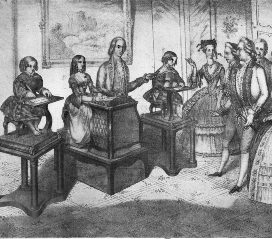 Automata by Jaquet-Droz, in a lithograph reproduced in Scientific American, Vol. 88, Number 16 (April 1903)