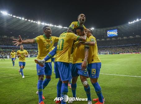 [비트코인벳★리뷰] 브라질, '메시 침묵' 아르헨 2-0 완파... 코파 12년 만 우승 도전!