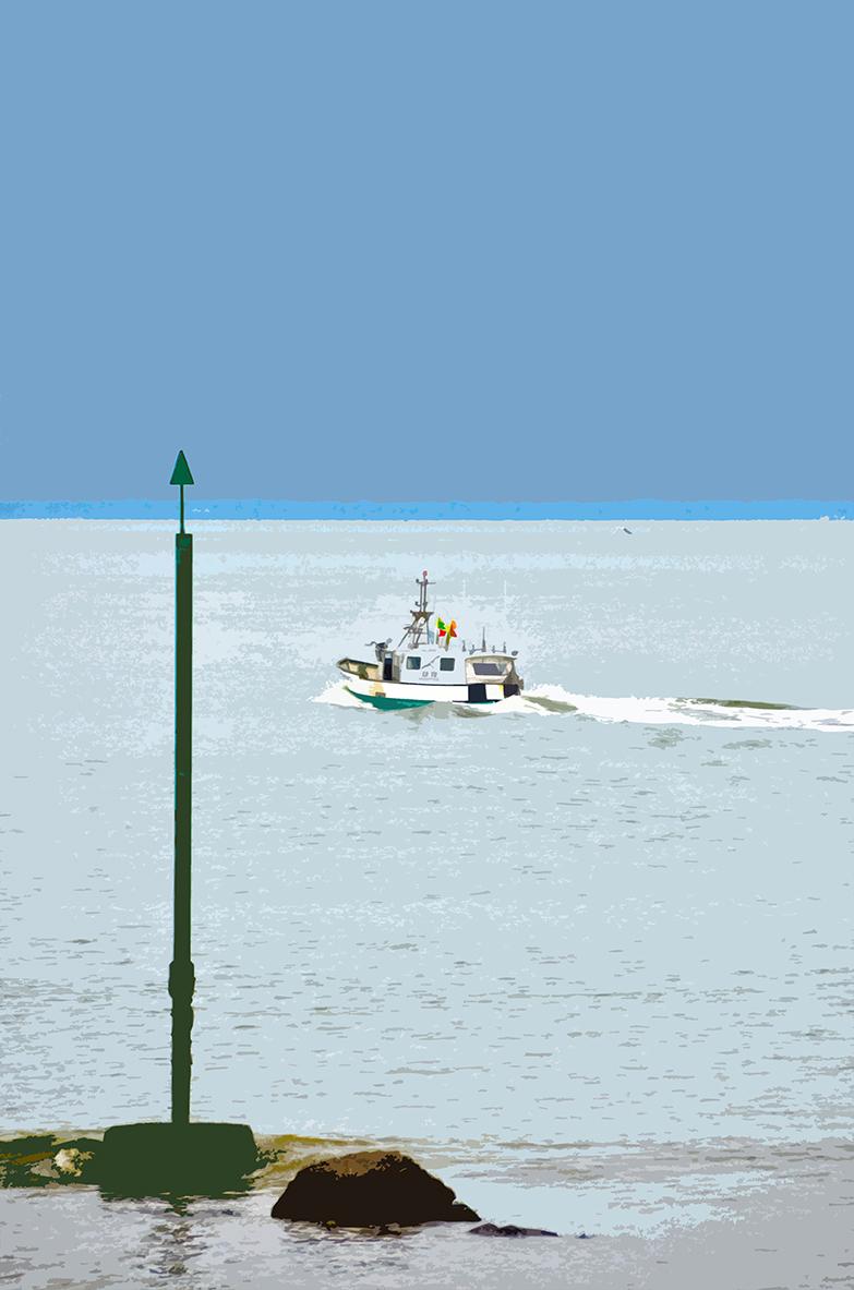 Poteau vert et bateau