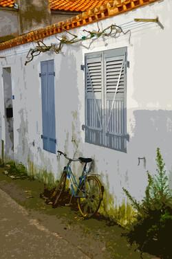 Vélo posé sur un mur