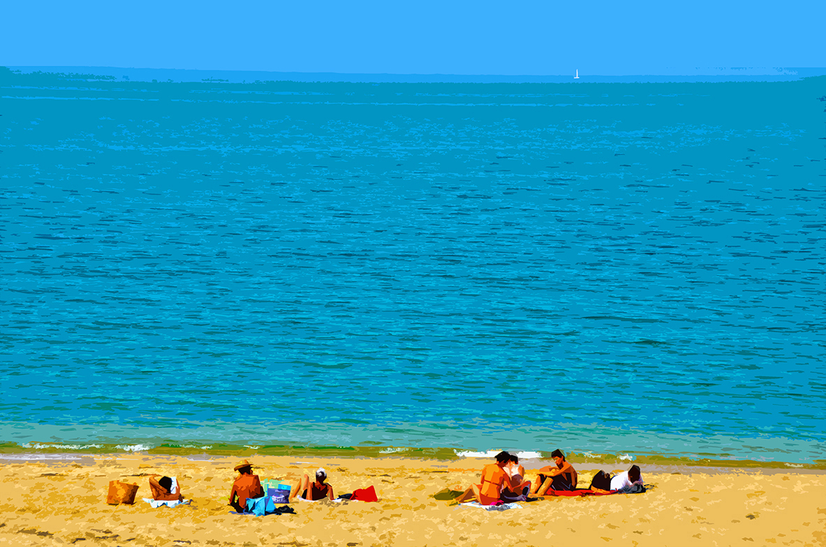 Famille sur la plage - Luzeronde